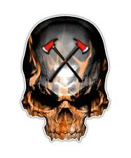 2 Firefighter Skull Decal - Fireman Flames Sticker Axe Cross ipad kindle decals