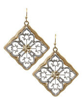 Square Drop Dangle Silver Gold Tone Women Chic Fashion Jewelry Earrings