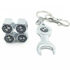 4PCS Set of Car Tire Car Wheel Valve Stem Air Caps Cover + Keychain For BMW