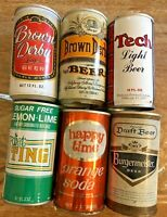 Lot of 6 Vintage Tin Beer & Soda Cans Brown Derby Burgermeister Diet Ting