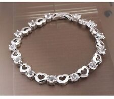 GORGEOUS 18K WHITE GOLD PLATED & GENUINE CLEAR CUBIC ZIRCONIA HEART BRACELET