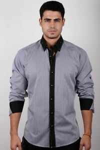 Absolute Rebellion Mirage Classic Men Fashion L/Sleeve Shirt Tiny Stripes/black.