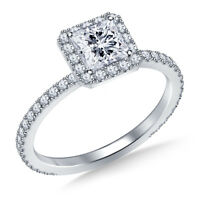 1.00 Ct Princess Cut Diamond Engagement Ring 14K Solid White Gold Rings Size 7 8