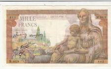 Billet banque DEMETER 1000 F 11-02-1943 MV M.4029 état voir scan trous d'épingle