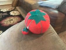 Vintage Tomato Pin Cushion with Needle Sharpening Strawberry + Pins Needles