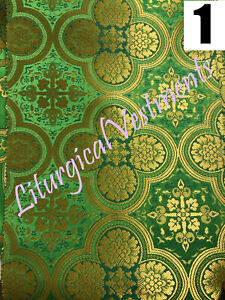 """Green Liturgical Vestment Brocade Floral and Cross patterns 67"""" 170 cm wide"""