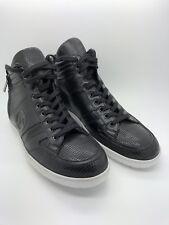 $795 Giorgio Armani Optic-Print Textured High-Top Sneaker, Black Size 8