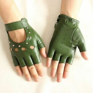 Women's Half Finger Gloves Goatskin Thin Hollow Sports Fashion Riding Mittens
