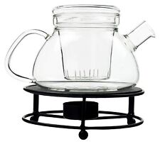 Tetera con colador de té y metall-stövchen JARRA VIDRIO teepot PREPARADOR TÉ