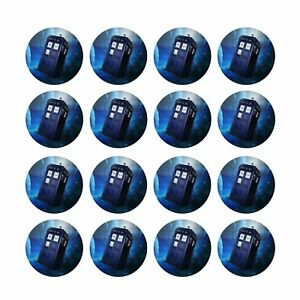 24x Dr Who Tardis Edible Cupcake Toppers Decorations Birthday Wafer 4cm (uncut)