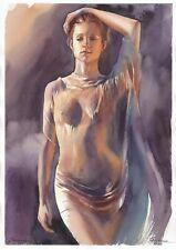 original drawing A3 401SA art by samovar woman nude girl watercolor Signed 2020