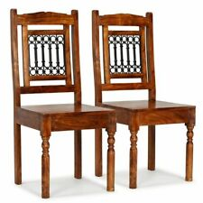 vidaXL 2x Solid Wood Dining Chair With Sheesham Finish Classic Kitchen Seat