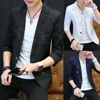 Chic Men Blazer Jackets One Button Slim Fit 3/4 Sleeve Korean Youth Summer Coats