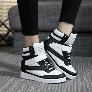 New Womens Sneakers Lace Up Athletic High Top Wedge Heel Casual Shoes Boots WS46