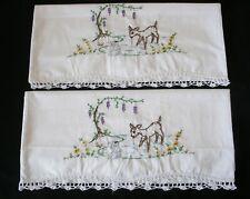 White New Embroidery Crochet PillowCases Cotton Sateen Standard Deer Rabbit Pair