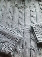 The GAP Cotton Sweater Cable Braids Aqua M Designer Fashion Hip Women Clothing