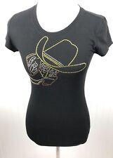 Reserved Western Embellished Cowgirl Tee T-Shirt Size Sm Black Cotton Short Slv
