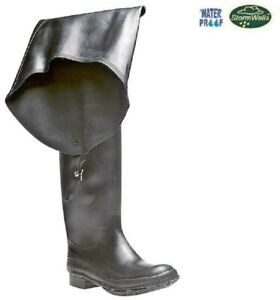 FISHING WADERS Men's Black Rubber Thigh High Wellingtons  Size 6 7 8 9 10 11 12