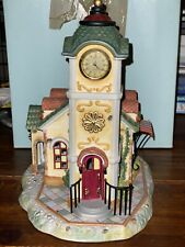 PartyLite Olde World Village #4 Clock Tower Tealight House-Decorative or Train