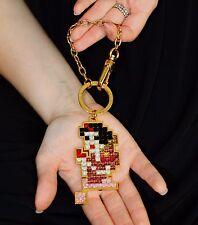 New Marc Jacobs Snow White pixelated crystal Key Chain/keychain Fob Charm