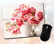 Flower Mouse Pad • Pink Bouquet Flowers Vase Pretty Gift Decor Desk Accessory