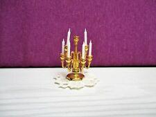 chandelier miniature en métal doré lourd avec napperon maison poupée/doll house