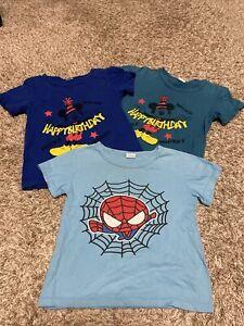 Lot Of (3) Boys Short Sleeve 100% Cotton Shirts Blue Spider-Man Sz 4