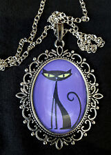Shag Cat Large Antique Silver Pendant Necklace 1960s Kitty Purple + Black