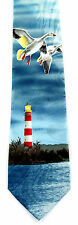Lighthouse Geese Mens Neck Tie Nautical Blue Necktie Ocean Sea Bird Gift New