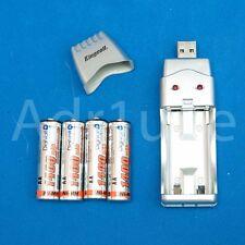 Cargador USB + 4 pilas AA larga duracion doble triple A AAA baterias recargables
