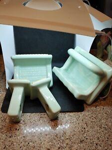 Ice Green Porcelain Bathroom Fixtures Soap Dish, Towel bar and soap/grab vintage