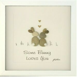 Personalised Pebble Art Gifts Picture Some Bunny Loves Keepsake Rabbits Handmade
