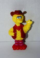 Sesame Street Big Bird in Cowboy Hat and Vest PVC Toy Figure 1990's