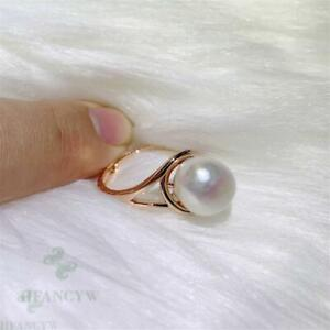 10-11mm White Baroque Pearl Rose Gold Open Ring Adjustable Flawless Huge