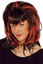"Perruque ""Vamp"" noir et rouge frange en pointe [11278212] fetes costume carnaval"