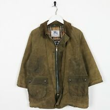 Vintage Kids Boys BURBERRYS Nova Check Wax Jacket Green   11yrs