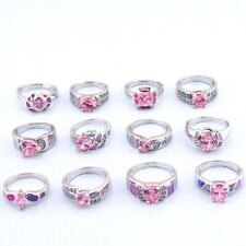 12PCS Wholesale Lots Mixed Jewelry Party Gift Silver Fire Opal Topaz Ring An-1