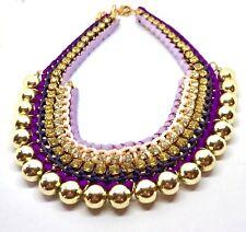 Neues AngebotGeflochtene Gold Perlen lila Stoff Strass Statement Halskette