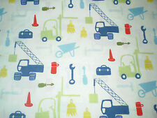 FUNKY WORK TOOLS, CRANE, FORKLIFT, CONSTRUCTION SITE THEMED FABRIC (50cm x 50cm)
