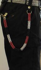 Handmade Red, Black, & Silver Chainmail Wallet chain great for Harley riders