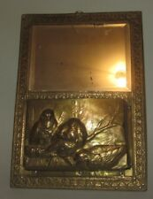 Art Nouveau/Arts and Crafts miroir et sculpture Antique Brass Wall Mirror