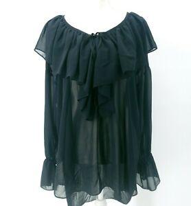 Victoria's Secret NVT Vintage Slip Dress Sheer Ruffled Black Oversized S PETITE