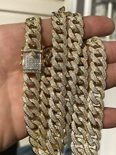 Mens Miami Cuban Link Chain 14k Yellow Gold Over Solid 925 Silver Diamonds 12mm