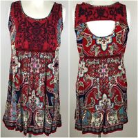 Altar'd State Women's Dress Red Floral Embroidered Boho Festival Flowy Size M