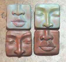 2 push mold lot abstract faces by Lori barbee original designs ooak polymer clay