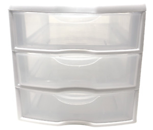 Sterilite 3 Drawer Unit Countertop Storage Organizer Clear Drawers White Frame