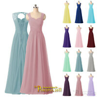 Bridesmaid Dress Ruched Chiffon Long Evening Wedding Party Ball Gown Prom Dress