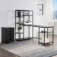 New listing Office Computer Large Desk Storage shelves Modern Metal Big Desk Boolshelf Black