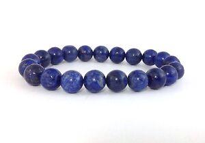 MEN'S Natural Lapis Lazuli Blue Gemstone Beads Jewelry Stretch Beaded Bracelet