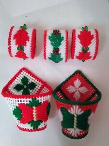 5 Holiday Napkin Rings Plastic Canvas Needle Craft Needlepoint Christmas